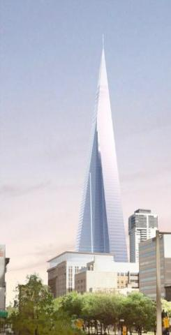 The 100-storey spire