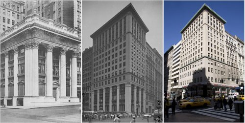 From left to right: The Knickerbocker Trust Company in 1904; the 1921 addition; and how it looks today